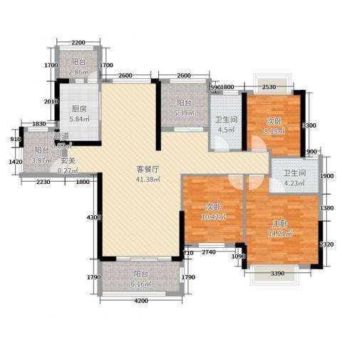 方直星耀国际3室2厅2卫1厨140.00㎡户型图