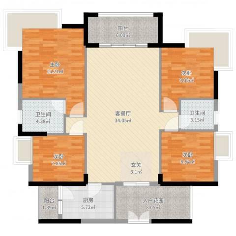 和合国际城二期4室2厅2卫1厨130.00㎡户型图