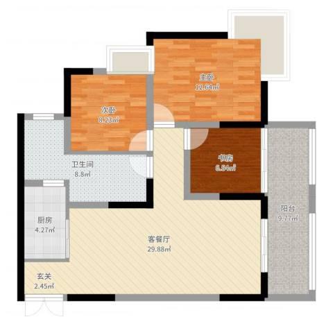 渝兴嘉悦山水3室2厅1卫1厨100.00㎡户型图