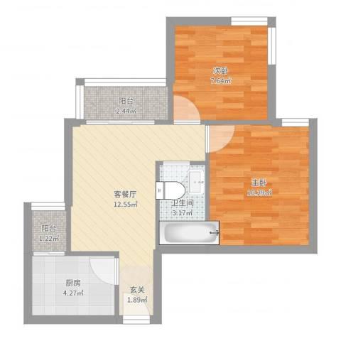 建茗苑2室2厅1卫1厨52.00㎡户型图
