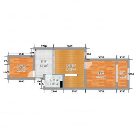 闵行区银都路3118弄十区42号601室3室2厅1卫1厨52.00㎡户型图