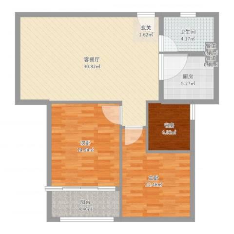 兰亭国际公寓3室2厅1卫1厨96.00㎡户型图