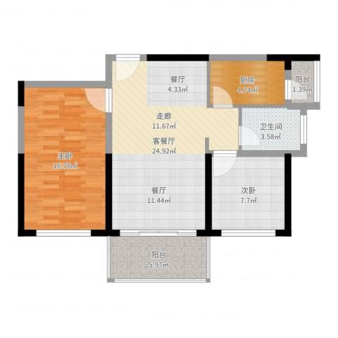 六和城2室2厅1卫1厨81.00㎡户型图