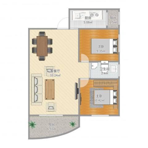 汇禾新城2室2厅1卫1厨87.00㎡户型图