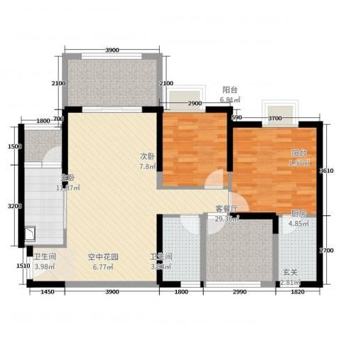 天湖.御林湾2室2厅2卫1厨98.00㎡户型图