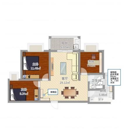 集云文泽府邸2-13F023室1厅1卫1厨89.00㎡户型图