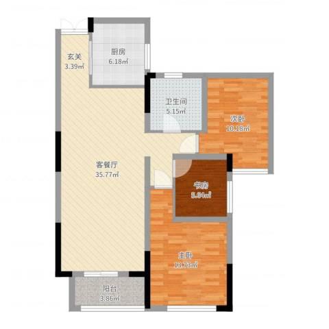 恒丰金玉园3室2厅1卫1厨101.00㎡户型图