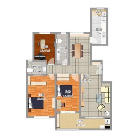 金宸公馆3室1厅2卫1厨150.00㎡户型图