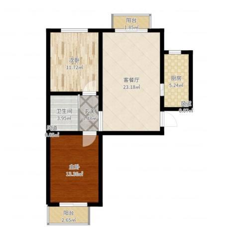 涿州翡翠城二期2室2厅1卫1厨97.00㎡户型图