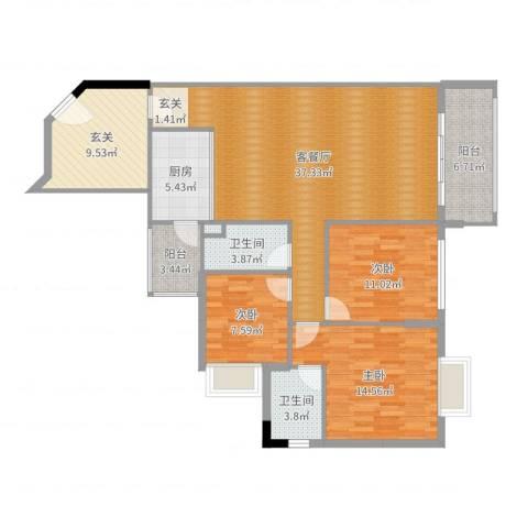 盛天龙湾3室2厅2卫1厨129.00㎡户型图