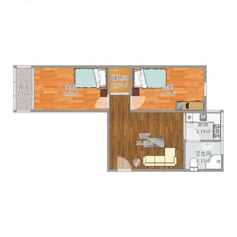 红波西里2室1厅1卫1厨44.55㎡户型图