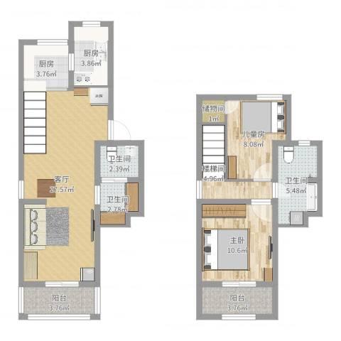 安华里2室1厅3卫2厨99.00㎡户型图