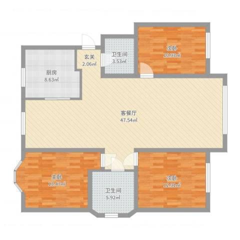 辽阳泛美华庭3室2厅2卫1厨129.00㎡户型图