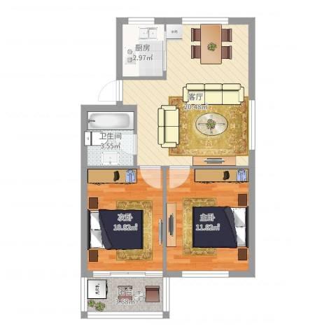 南苑小区2室1厅1卫1厨67.00㎡户型图