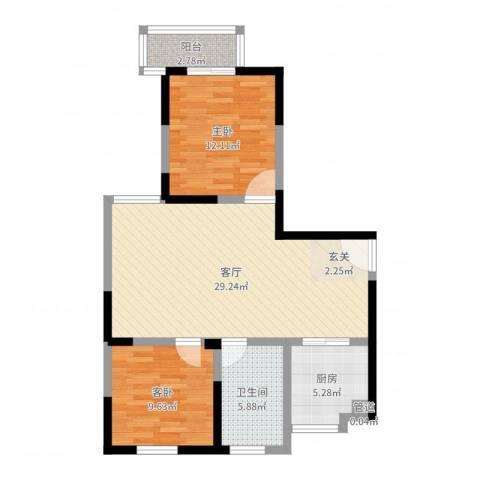 金色地带2室1厅1卫1厨81.00㎡户型图