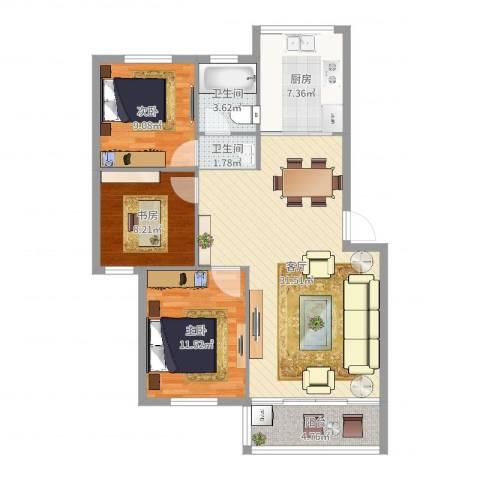 井亭家园3室1厅2卫1厨97.00㎡户型图