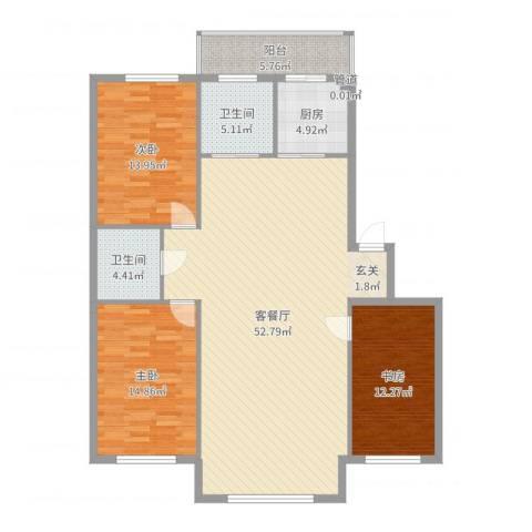集美中心花园3室2厅2卫1厨143.00㎡户型图