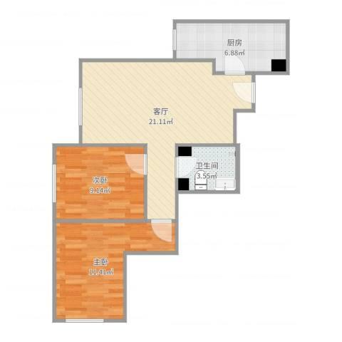 宋家庄家园2室1厅1卫1厨65.00㎡户型图