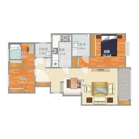 文景苑3室1厅2卫1厨109.00㎡户型图