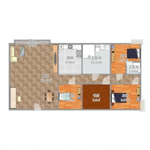 宝翠花园4室1厅2卫1厨128.00㎡户型图