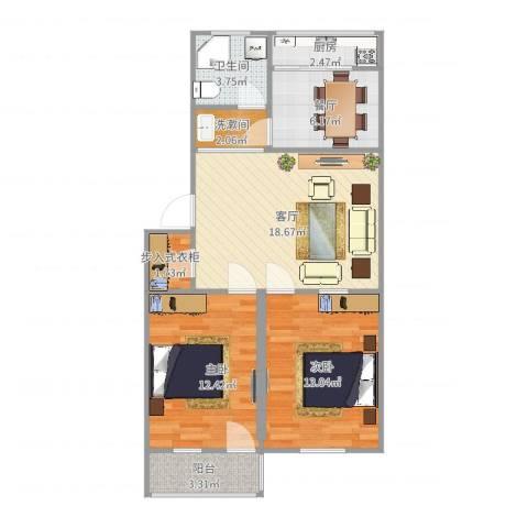 科苑小区2室2厅1卫1厨80.00㎡户型图