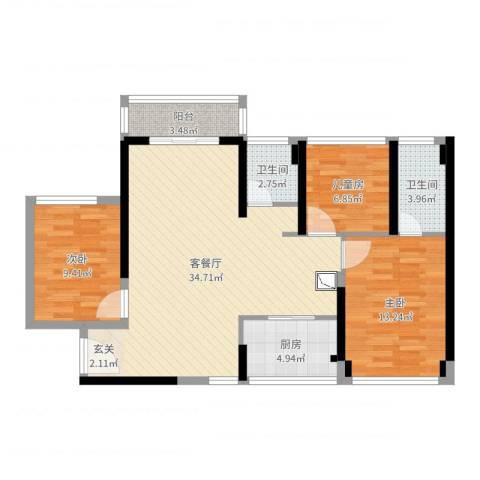 华侨城四海锦园3室2厅2卫1厨99.00㎡户型图