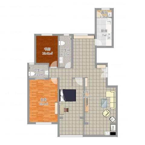 金宸公馆2室1厅2卫1厨152.00㎡户型图