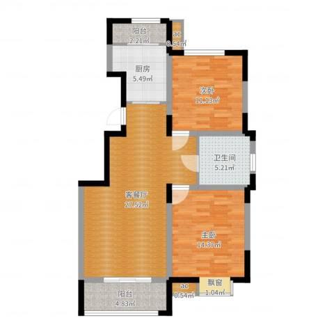 融科上城2室2厅1卫1厨90.00㎡户型图