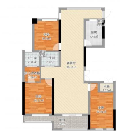 城泰湖韵天成3室2厅2卫1厨106.00㎡户型图