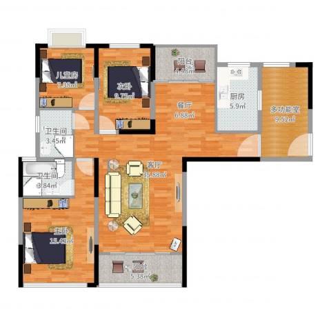 天瑞国际3室1厅2卫1厨126.00㎡户型图