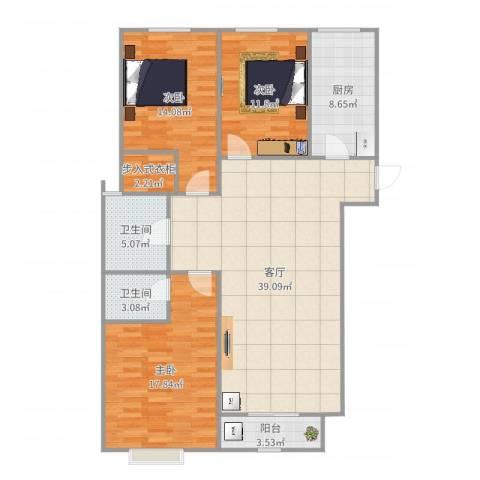 香格里拉3室1厅2卫1厨132.00㎡户型图