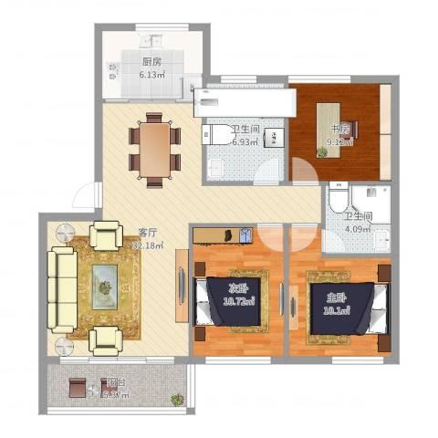 南岸秀庭3室1厅2卫1厨106.00㎡户型图
