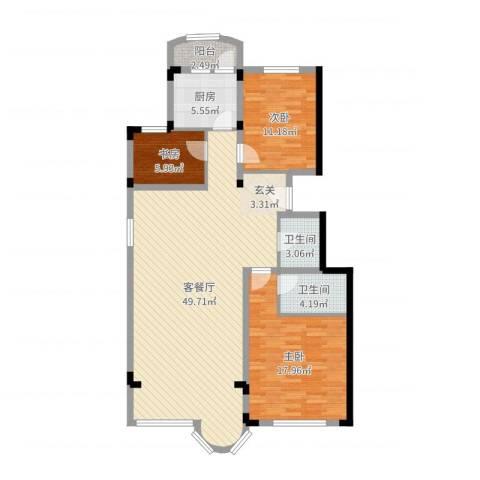 大明翠庭3室2厅2卫1厨125.00㎡户型图