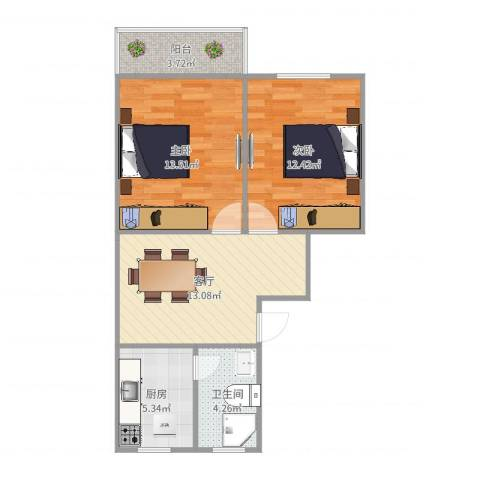 平阳一村2室1厅1卫1厨65.00㎡户型图