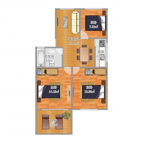 平阳一村3室2厅1卫1厨85.00㎡户型图