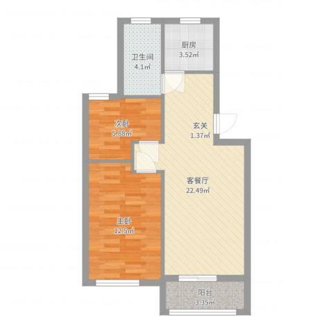 康桥月苑2室2厅1卫1厨65.00㎡户型图