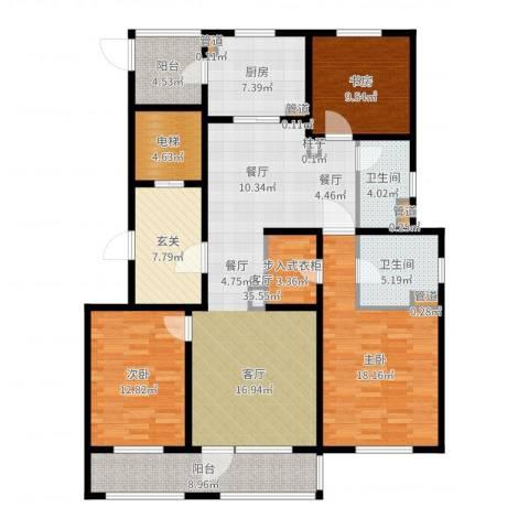 姑苏金茂府3室1厅2卫1厨154.00㎡户型图
