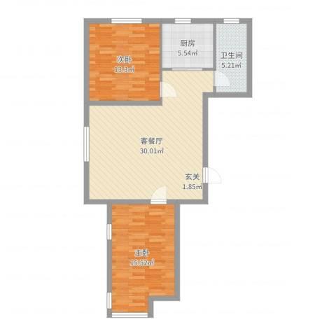 天盛名都2室2厅1卫1厨87.00㎡户型图