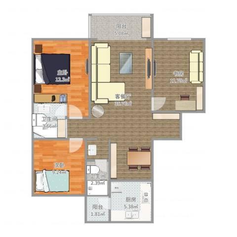 平阳绿家园3室2厅2卫1厨103.00㎡户型图