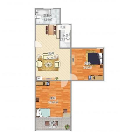 平阳三村2室1厅1卫1厨82.00㎡户型图