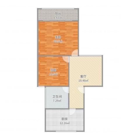 平阳三村2室1厅1卫1厨99.00㎡户型图