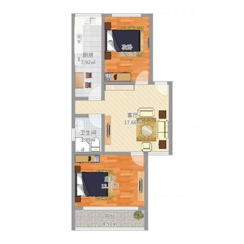 平阳三村2室1厅1卫1厨72.00㎡户型图