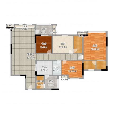 松山湖紫檀山别墅4室2厅1卫1厨185.00㎡户型图