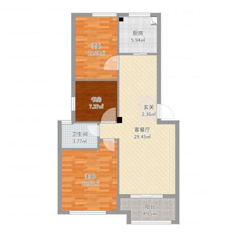 天一名都3室2厅1卫1厨97.00㎡户型图