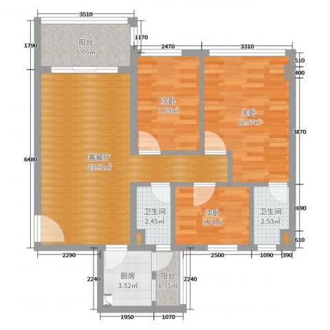 君安峰景湾3室2厅2卫1厨82.00㎡户型图