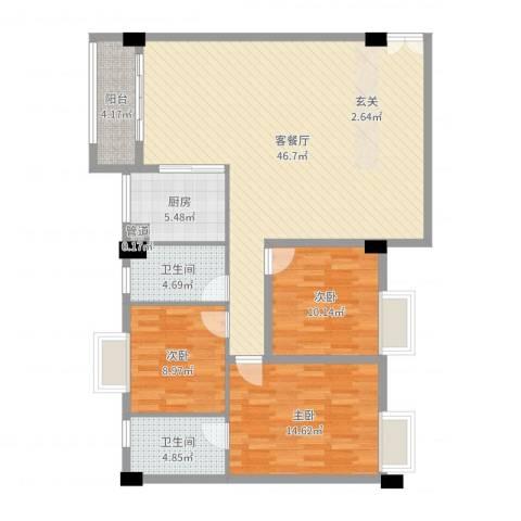 嘉豪雅苑3室2厅2卫1厨125.00㎡户型图