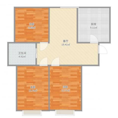 凯顺佳园3室1厅1卫1厨83.00㎡户型图