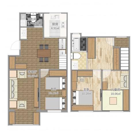 长江花园3室2厅1卫1厨111.00㎡户型图
