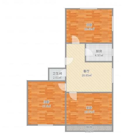 枣园北里3室1厅1卫1厨98.00㎡户型图