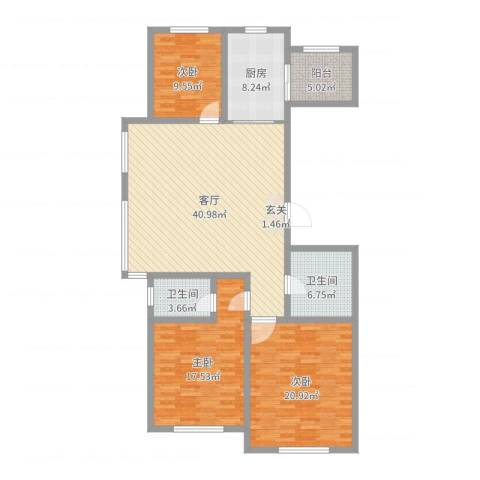 红日・城市假日花园3室1厅2卫1厨141.00㎡户型图